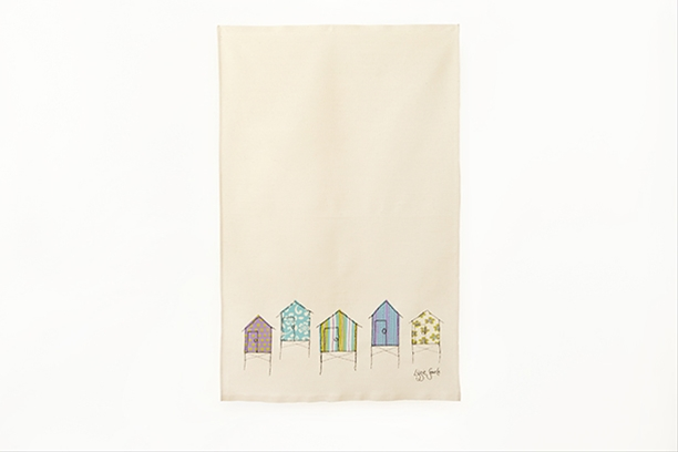 Screen printed beach hut tea towel