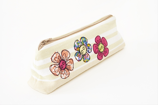 Embroidered flower pencilcase