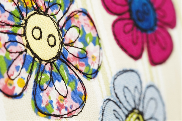 Embroidered flower make-up bag