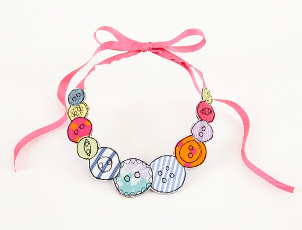 Embroidered button necklace