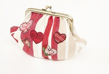 Embroidered heart purse