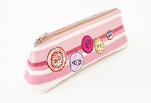 Embroidered button pencilcase