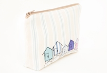 Embroidered beach hut make-up bag