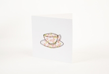 Embroidered pink flower teacup greetings card
