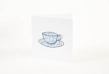 Embroidered blue and white pattern teacup greetings card