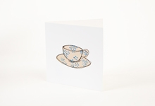 Embroidered blue flower teacup greetings card
