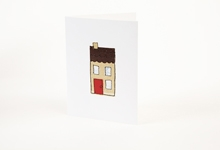 Embroidered house with red door greetings card