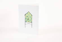 Embroidered green and blue polka-dot beach hut greetings card