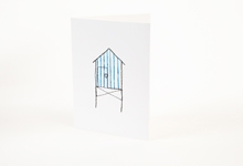 Embroidered blue stripy beach hut greetings card