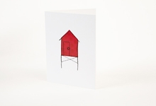 Embroidered red polka-dot beach hut greetings card