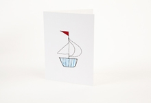 Embroidered blue stripy boat greetings card