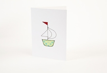 Embroidered green and blue polka-dot boat greetings card
