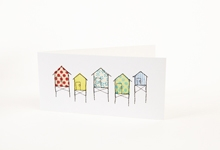 Embroidered beach huts greetings card (light)