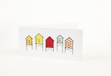 Embroidered beach huts greetings card