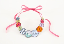 Embroidered blue stripe button necklace - medium